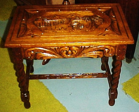 Handcarved Oriental End Table With Barley Twist Legs And Carved Stretchers